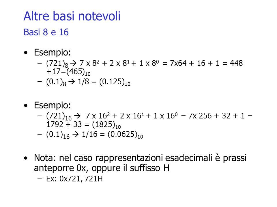 Altre basi notevoli Basi 8 e 16