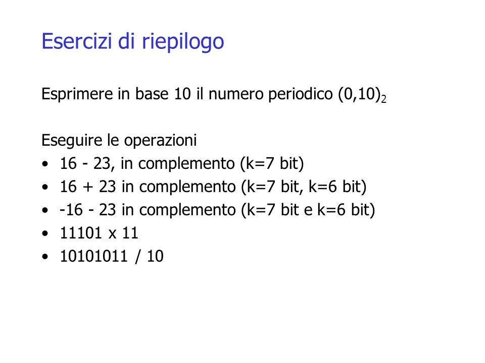 Esercizi di riepilogo Esprimere in base 10 il numero periodico (0,10)2