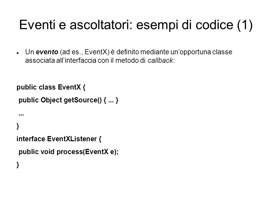 Eventi e ascoltatori: esempi di codice (1)