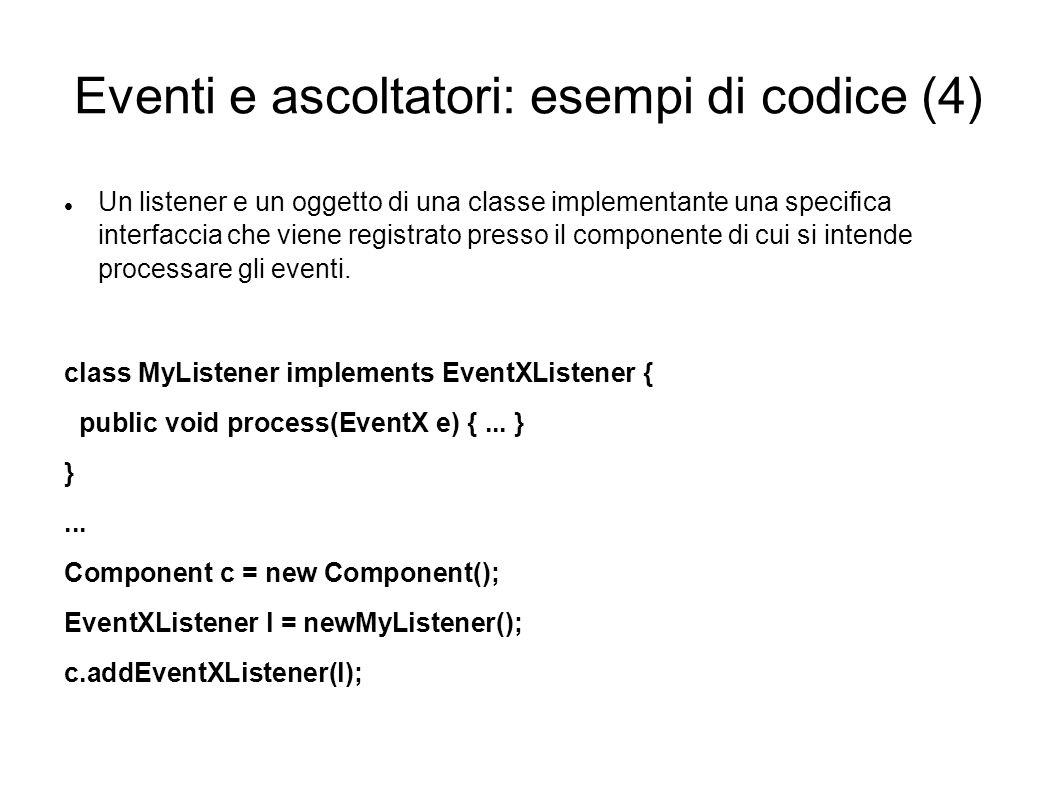 Eventi e ascoltatori: esempi di codice (4)