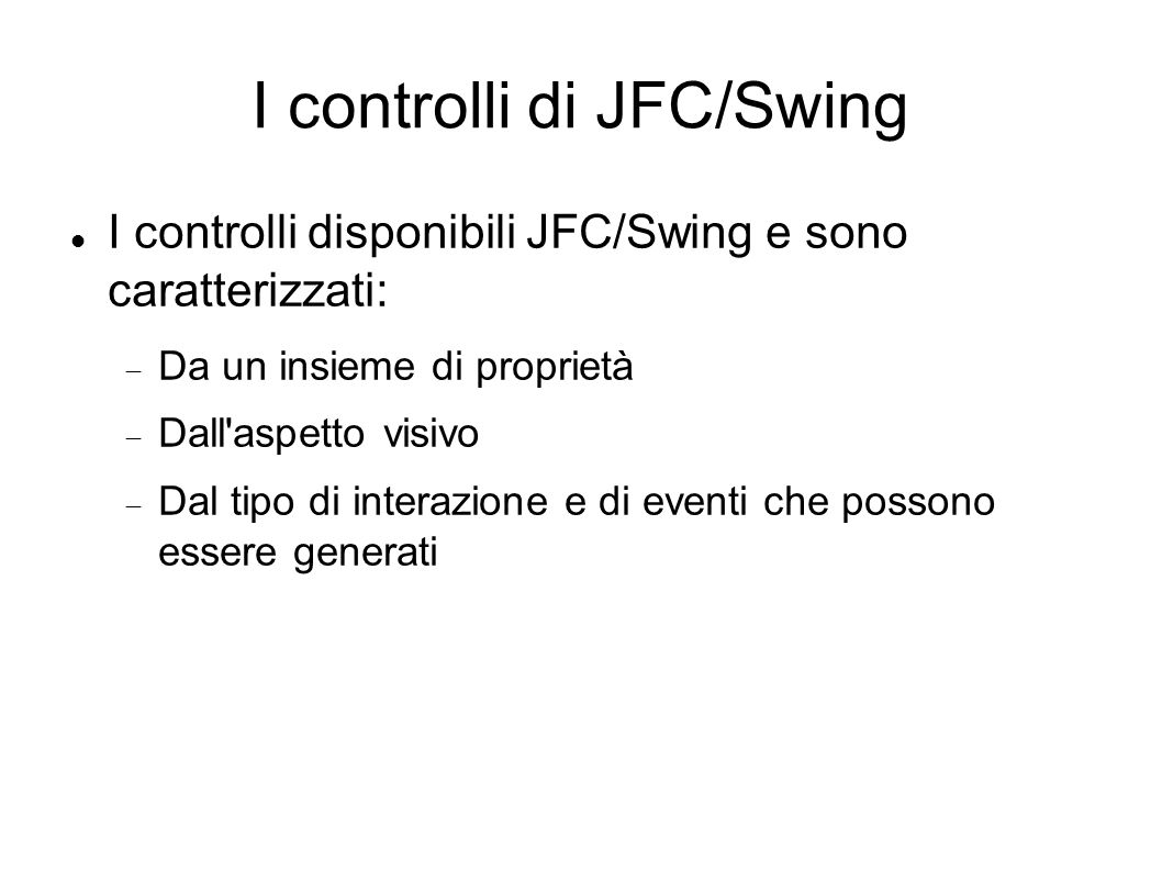 I controlli di JFC/Swing