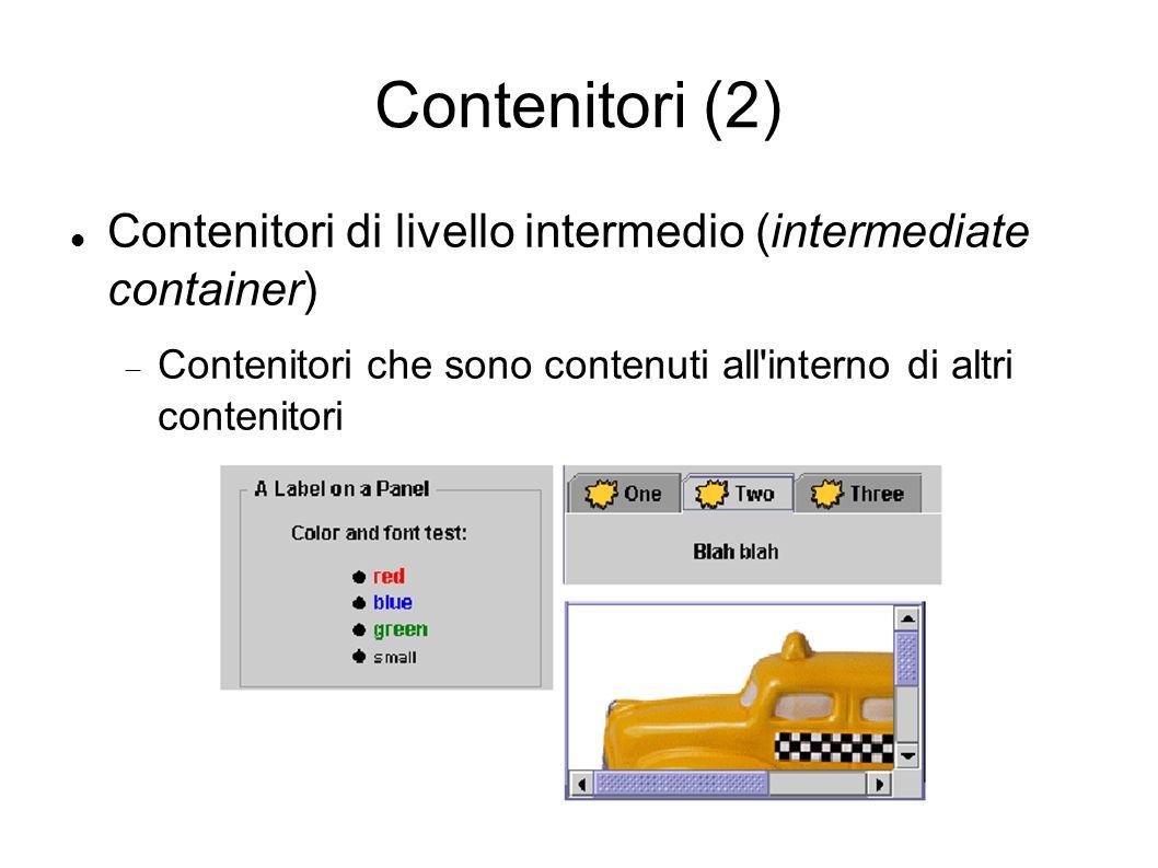 Contenitori (2) Contenitori di livello intermedio (intermediate container) Contenitori che sono contenuti all interno di altri contenitori.