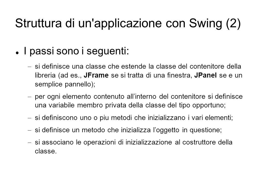Struttura di un applicazione con Swing (2)