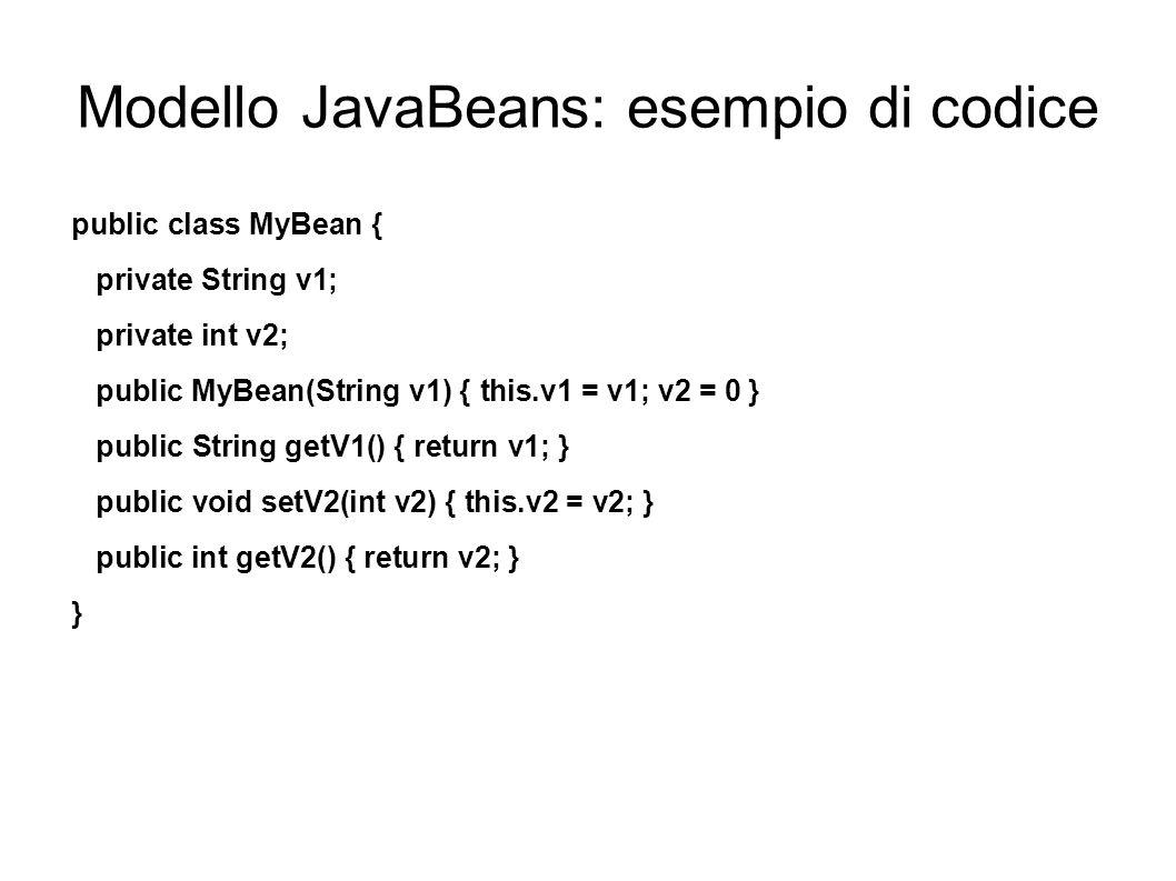 Modello JavaBeans: esempio di codice