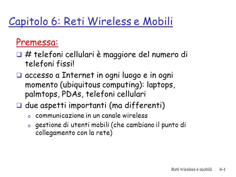 Capitolo 6: Reti Wireless e Mobili