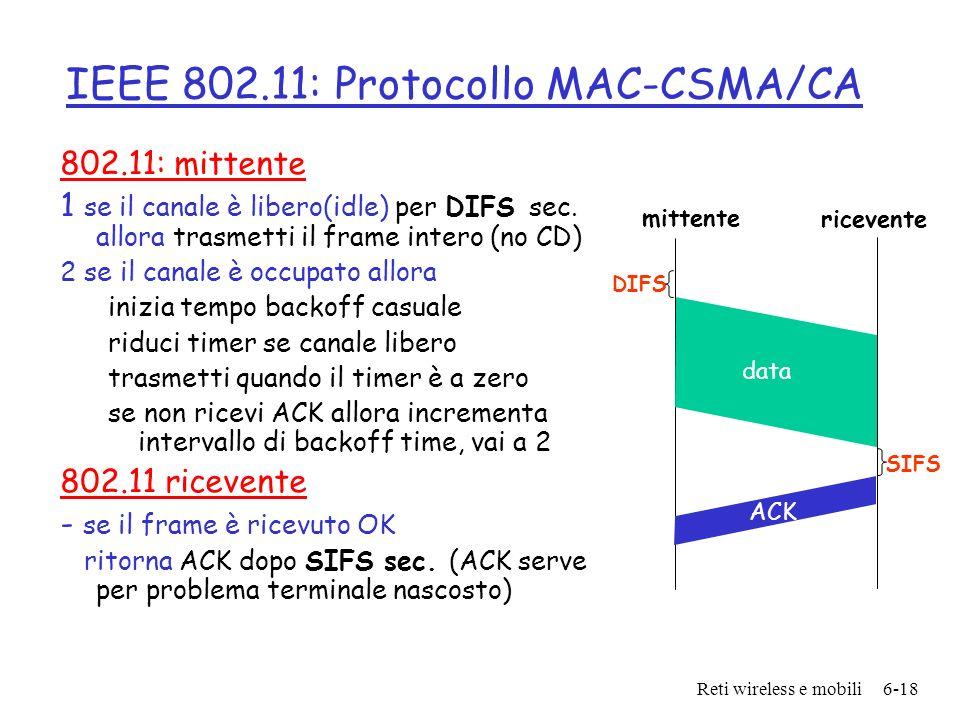 IEEE 802.11: Protocollo MAC-CSMA/CA