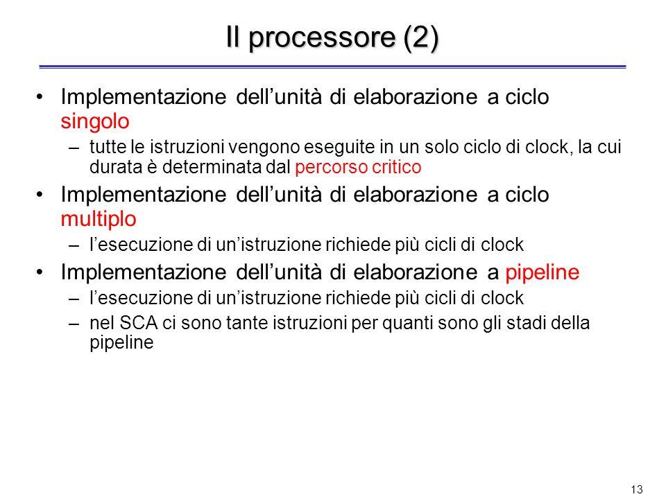 Il processore (2) Implementazione dell'unità di elaborazione a ciclo singolo.