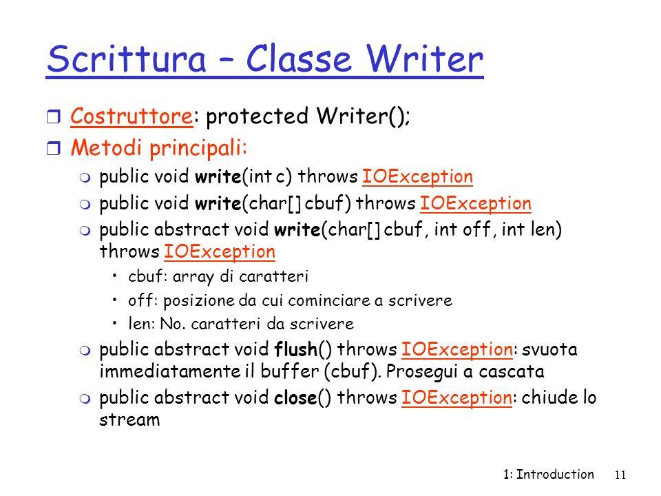 Scrittura – Classe Writer