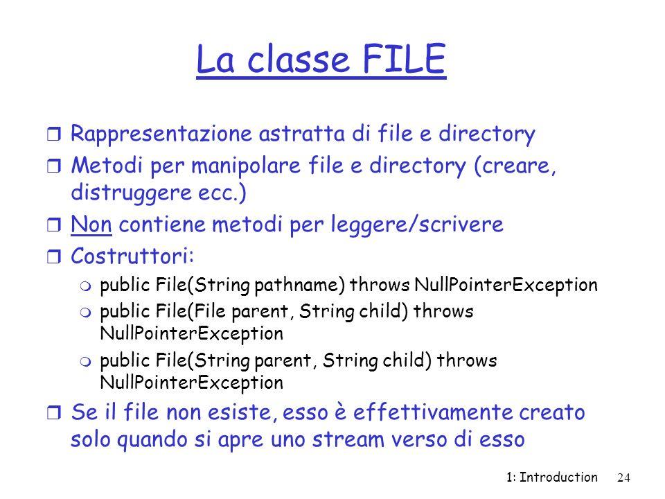 La classe FILE Rappresentazione astratta di file e directory