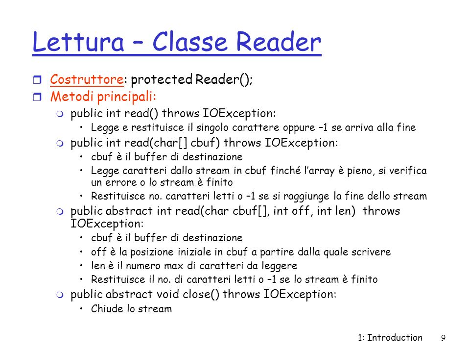 Lettura – Classe Reader