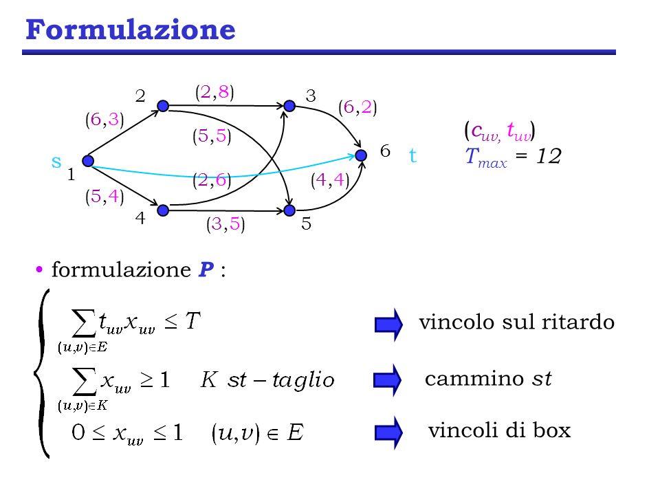 Formulazione (cuv, tuv) Tmax = 12 t s formulazione P :