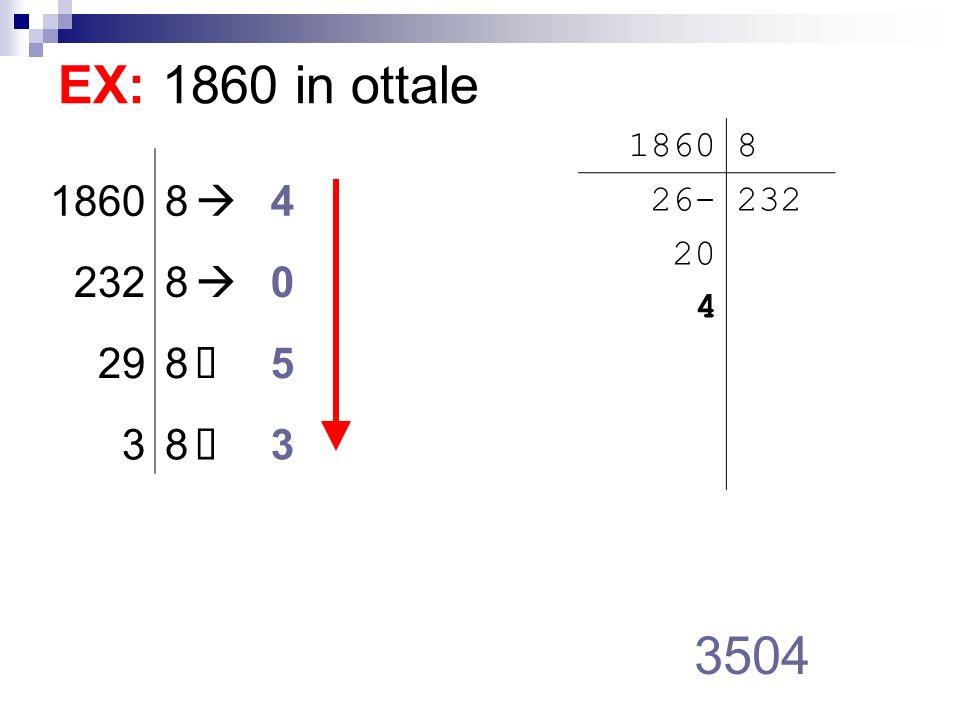 EX: 1860 in ottale 1860 8 26- 20 4 232 1860 8  4 232 29 à 5 3 3504