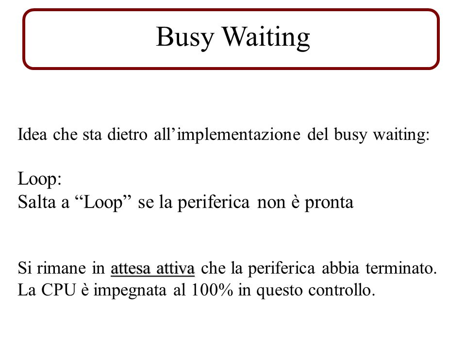 Busy Waiting Loop: Salta a Loop se la periferica non è pronta