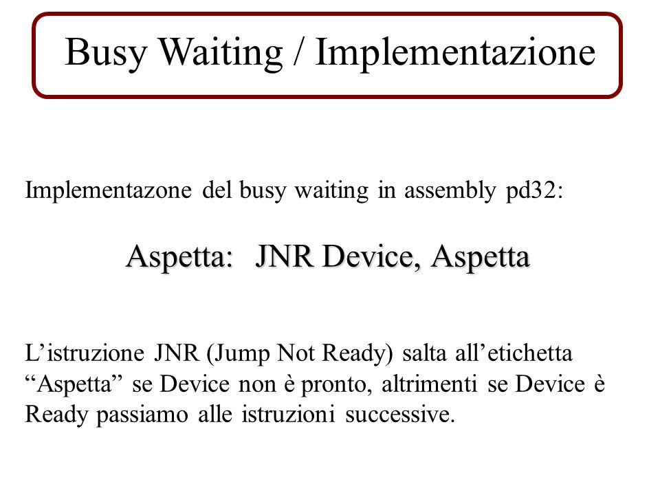 Busy Waiting / Implementazione