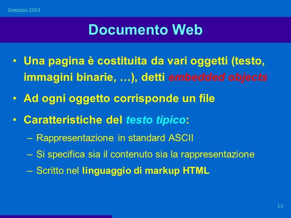 Gennaio 2001 Documento Web. Una pagina è costituita da vari oggetti (testo, immagini binarie, …), detti embedded objects.