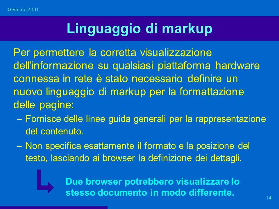 Gennaio 2001 Linguaggio di markup.