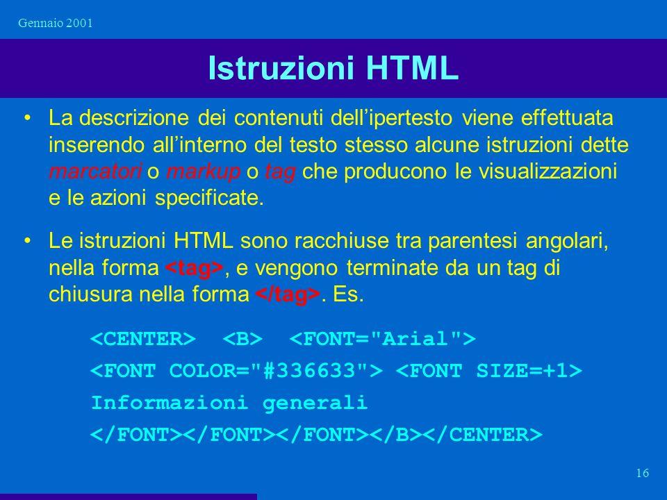 Gennaio 2001 Istruzioni HTML.
