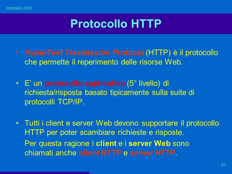 Gennaio 2001 Protocollo HTTP. HyperText Trasmission Protocol (HTTP) è il protocollo che permette il reperimento delle risorse Web.