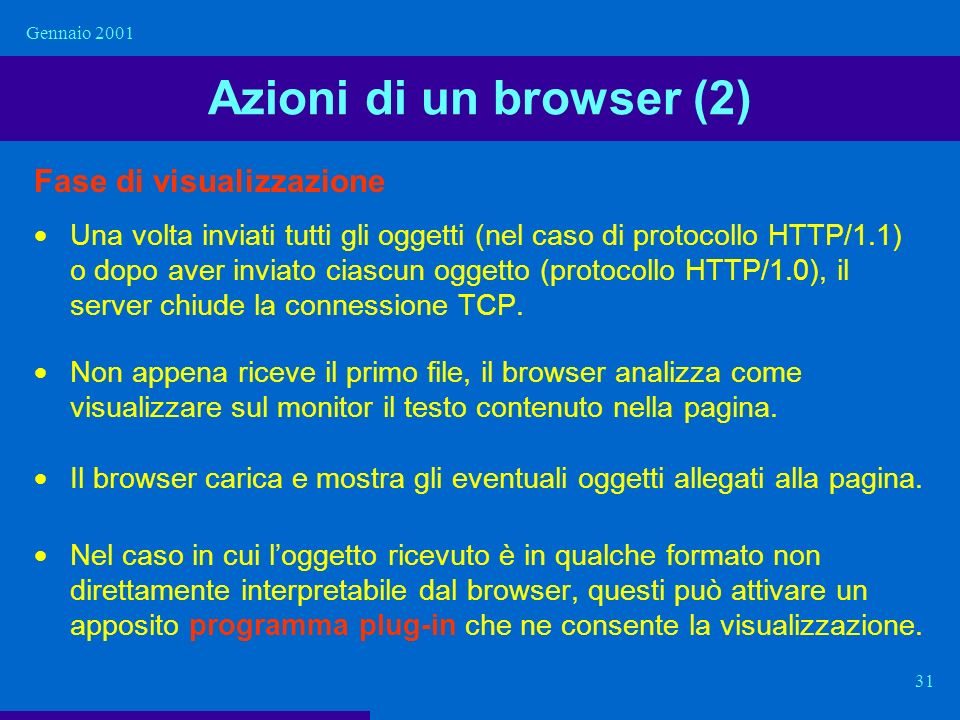 Azioni di un browser (2) Fase di visualizzazione