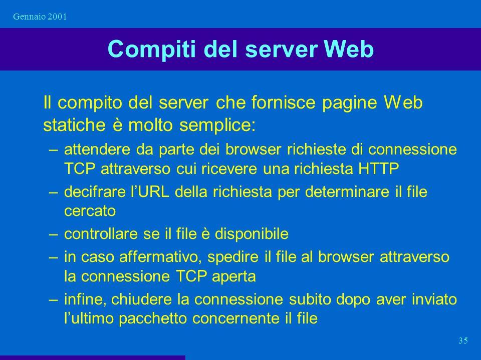 Gennaio 2001 Compiti del server Web. Il compito del server che fornisce pagine Web statiche è molto semplice: