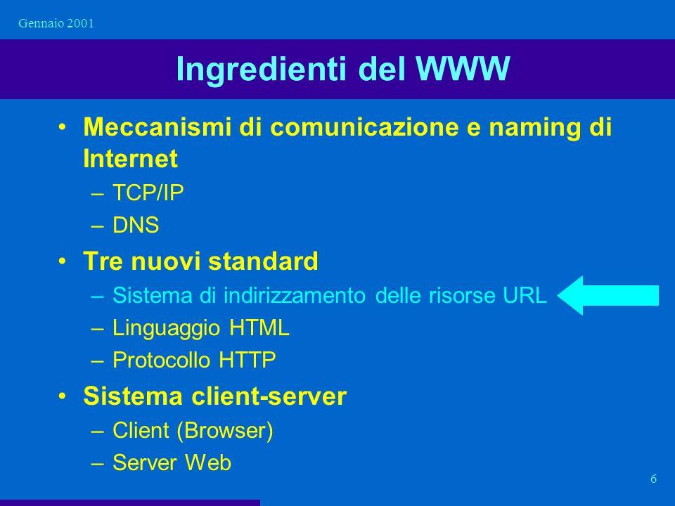Ingredienti del WWW Meccanismi di comunicazione e naming di Internet
