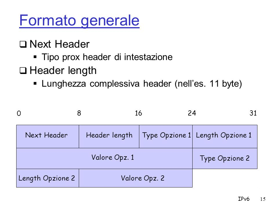 Formato generale Next Header Header length