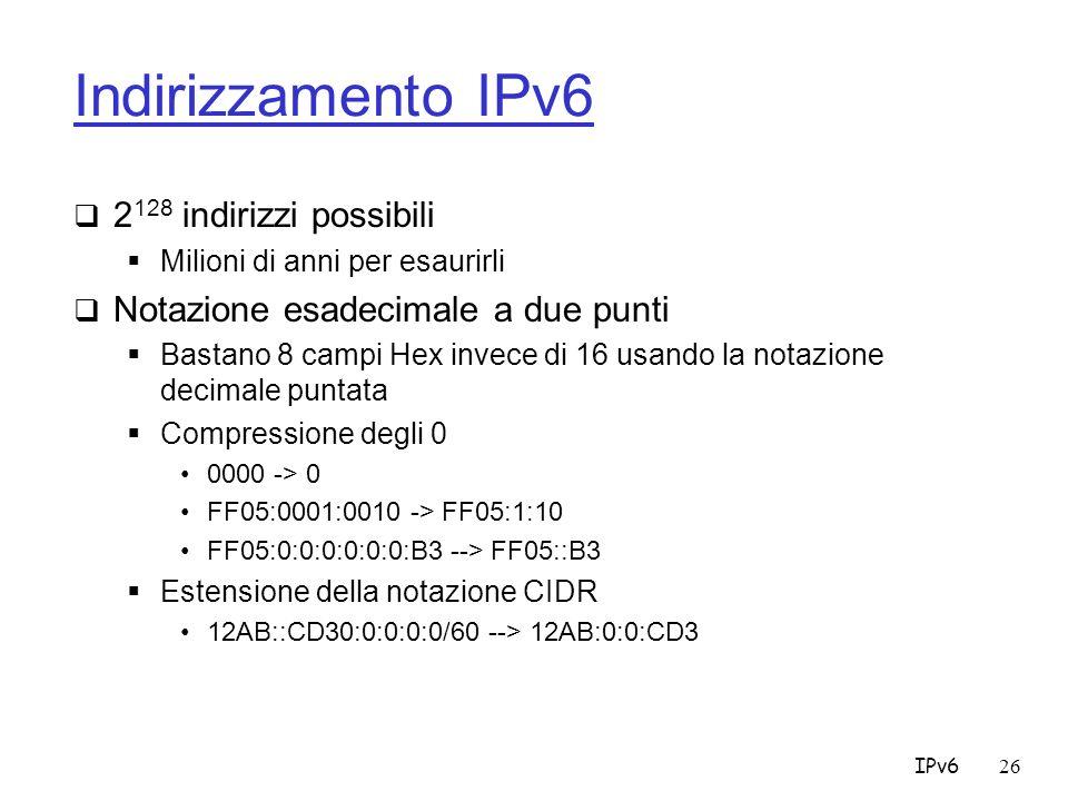 Indirizzamento IPv6 2128 indirizzi possibili