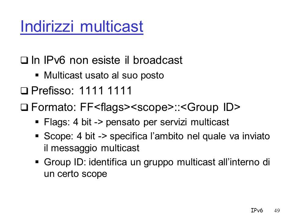 Indirizzi multicast In IPv6 non esiste il broadcast