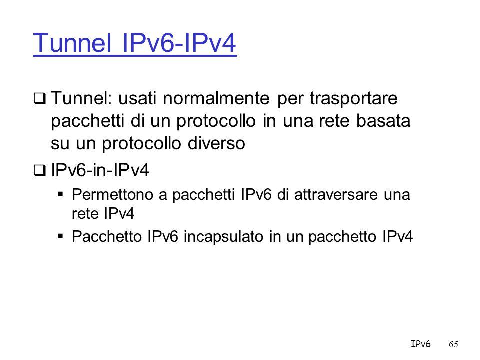 Tunnel IPv6-IPv4 Tunnel: usati normalmente per trasportare pacchetti di un protocollo in una rete basata su un protocollo diverso.