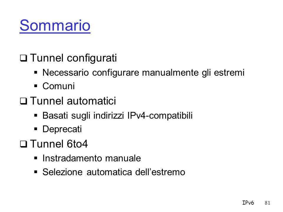Sommario Tunnel configurati Tunnel automatici Tunnel 6to4