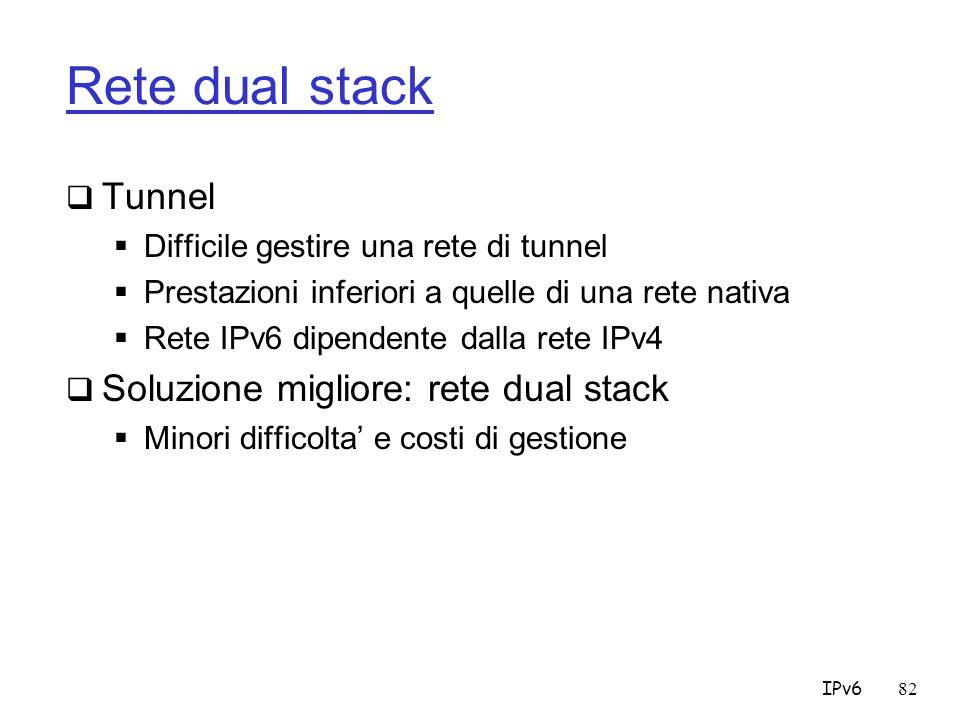 Rete dual stack Tunnel Soluzione migliore: rete dual stack