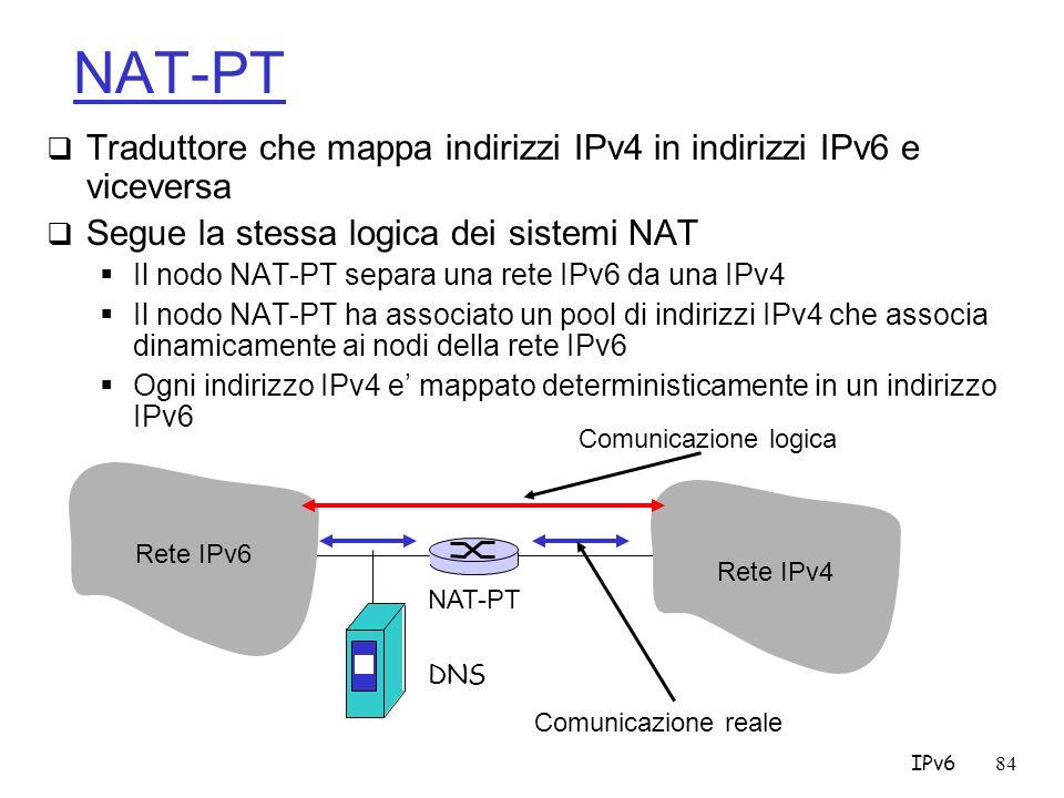 NAT-PT Traduttore che mappa indirizzi IPv4 in indirizzi IPv6 e viceversa. Segue la stessa logica dei sistemi NAT.