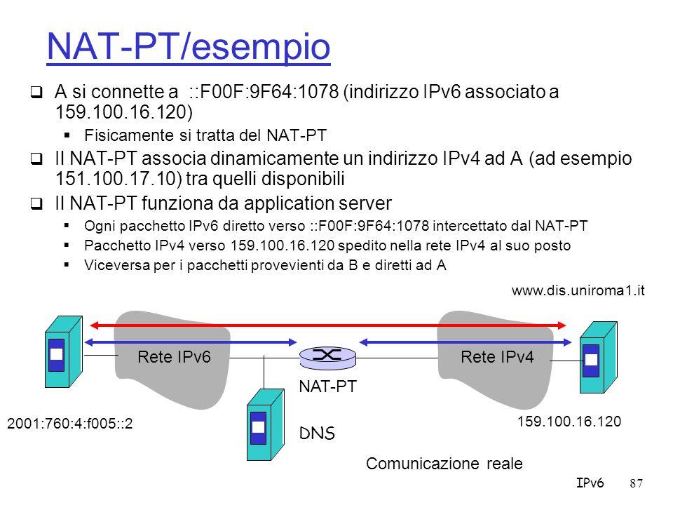 NAT-PT/esempio A si connette a ::F00F:9F64:1078 (indirizzo IPv6 associato a 159.100.16.120) Fisicamente si tratta del NAT-PT.