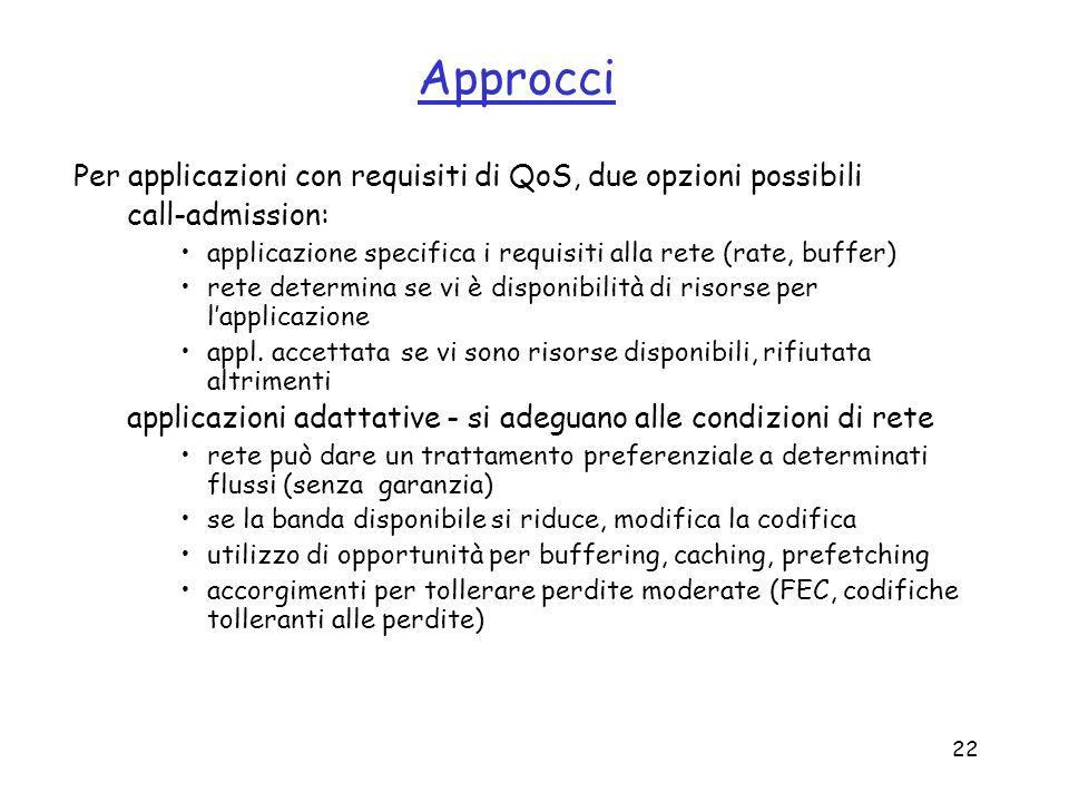 Approcci Per applicazioni con requisiti di QoS, due opzioni possibili