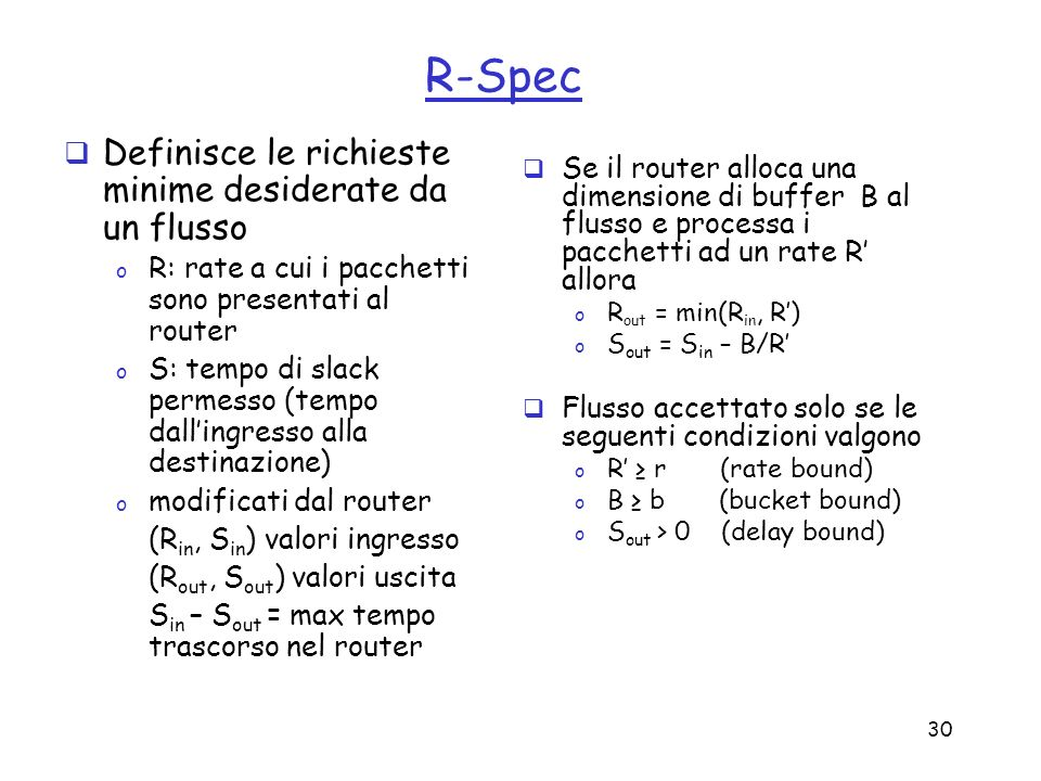 R-Spec Definisce le richieste minime desiderate da un flusso