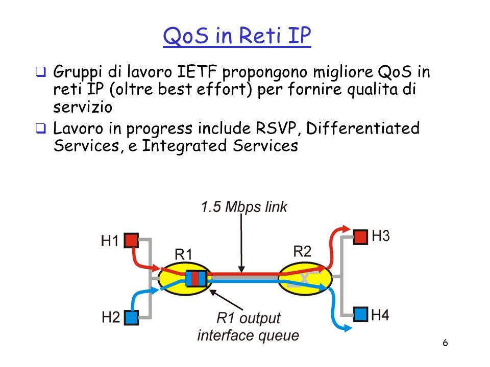 QoS in Reti IP Gruppi di lavoro IETF propongono migliore QoS in reti IP (oltre best effort) per fornire qualita di servizio.