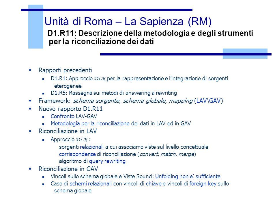 Unità di Roma – La Sapienza (RM) D1
