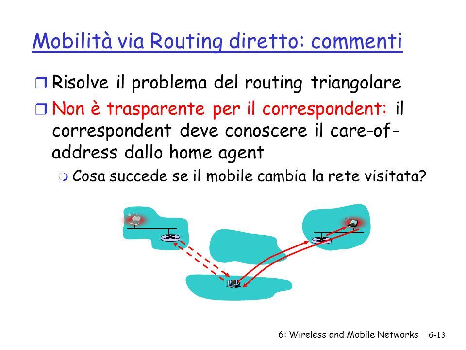 Mobilità via Routing diretto: commenti