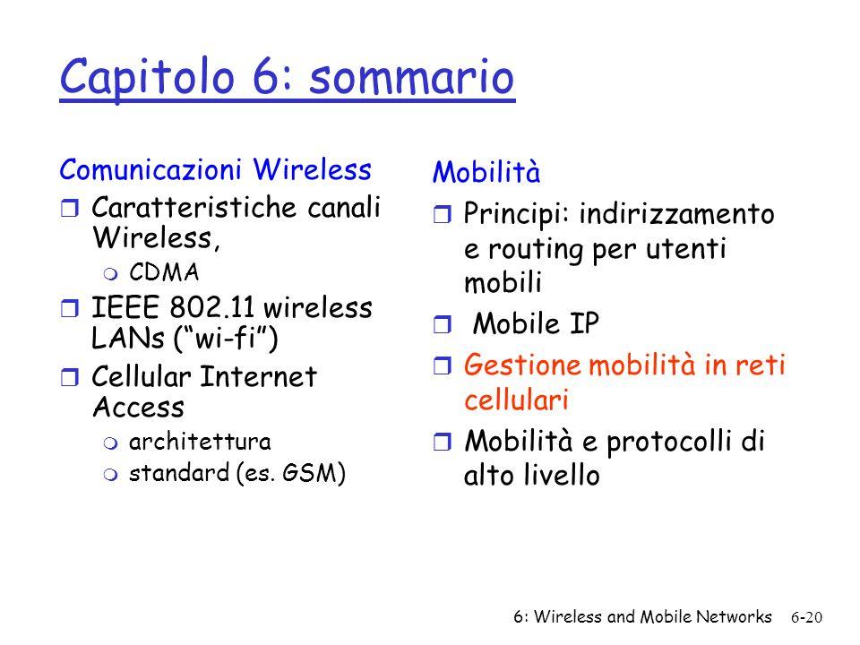 Capitolo 6: sommario Comunicazioni Wireless