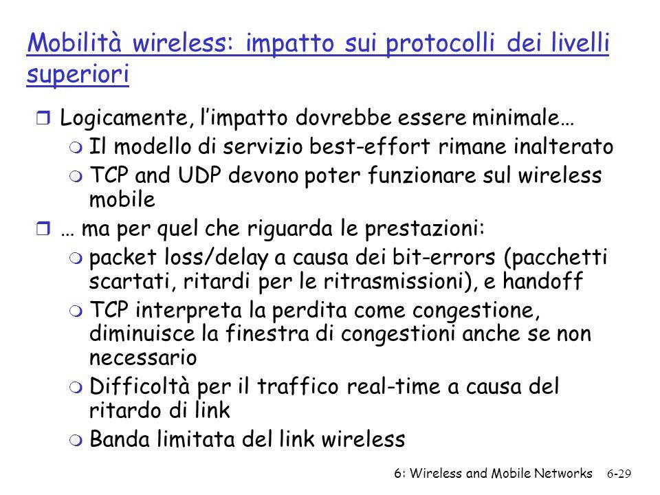 Mobilità wireless: impatto sui protocolli dei livelli superiori