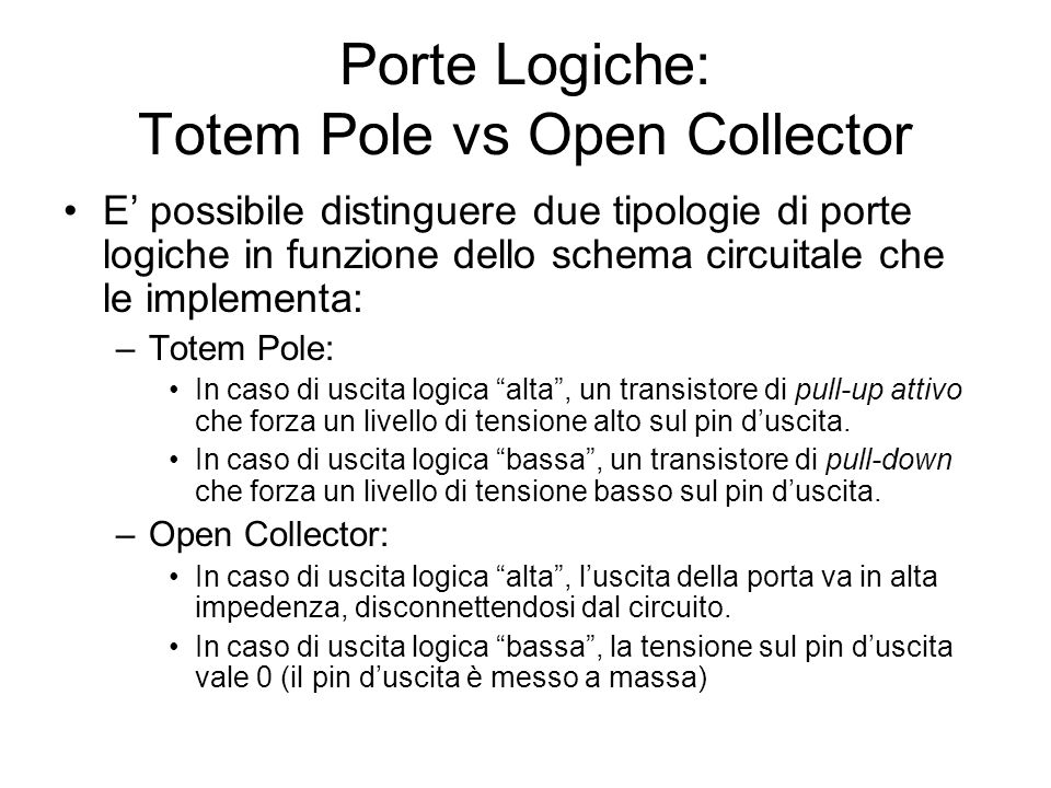 Porte Logiche: Totem Pole vs Open Collector