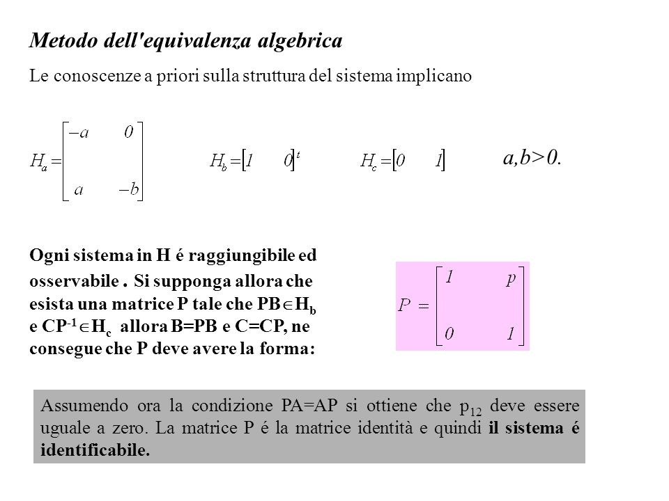 Metodo dell equivalenza algebrica