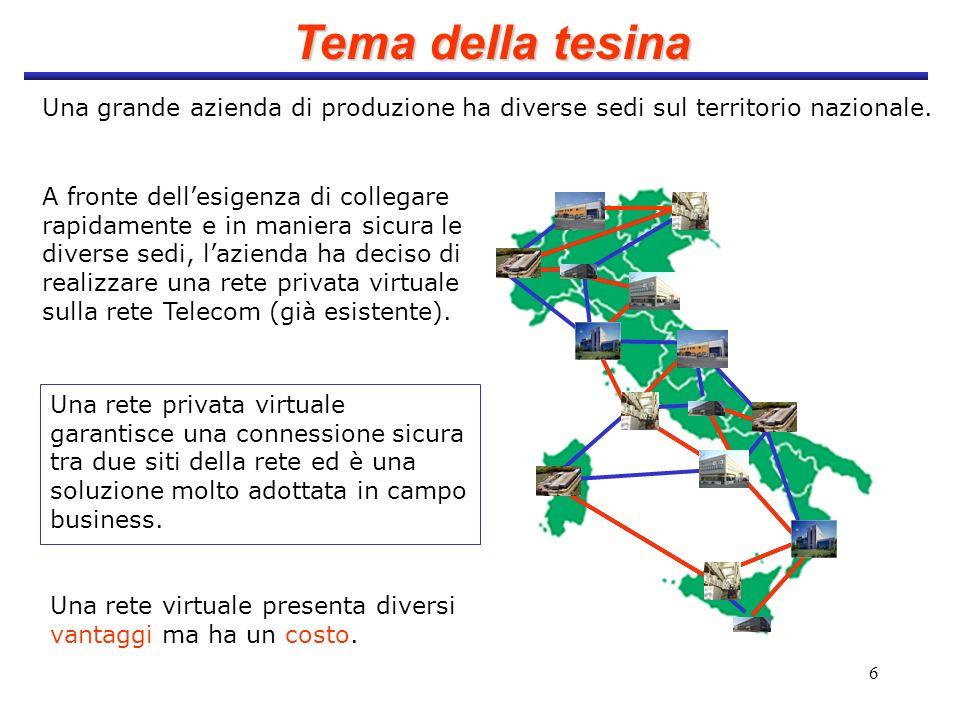 Tema della tesina Una grande azienda di produzione ha diverse sedi sul territorio nazionale.