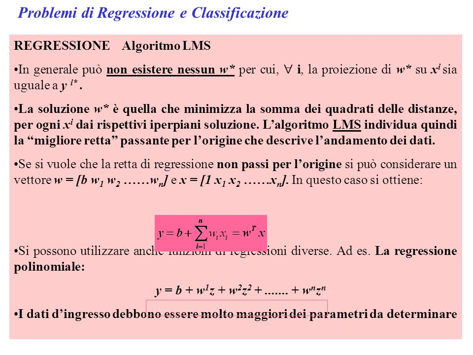 Problemi di Regressione e Classificazione
