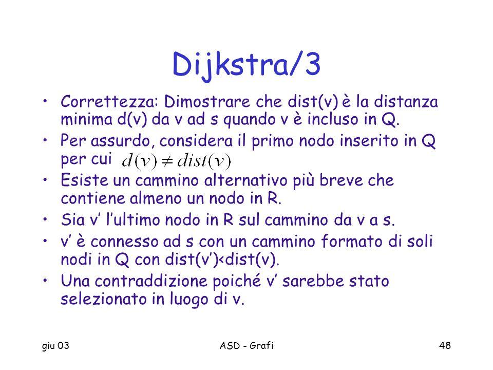 Dijkstra/3 Correttezza: Dimostrare che dist(v) è la distanza minima d(v) da v ad s quando v è incluso in Q.