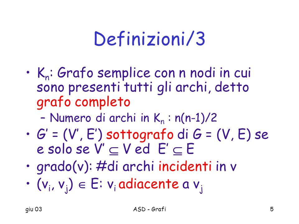 Definizioni/3 Kn: Grafo semplice con n nodi in cui sono presenti tutti gli archi, detto grafo completo.