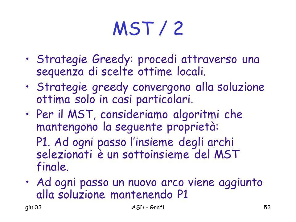 MST / 2 Strategie Greedy: procedi attraverso una sequenza di scelte ottime locali.
