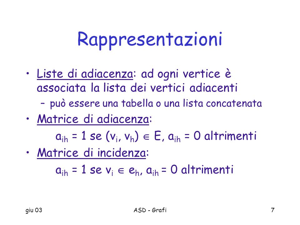 RappresentazioniListe di adiacenza: ad ogni vertice è associata la lista dei vertici adiacenti. può essere una tabella o una lista concatenata.