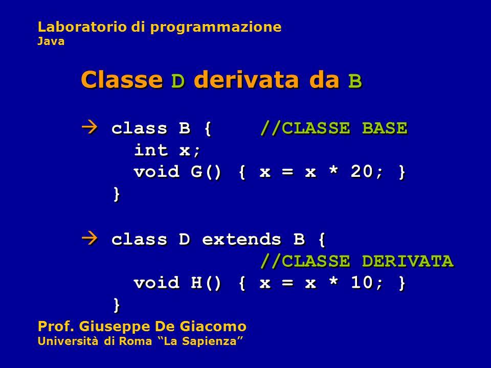 Classe D derivata da B class B { //CLASSE BASE int x; void G() { x = x * 20; } }