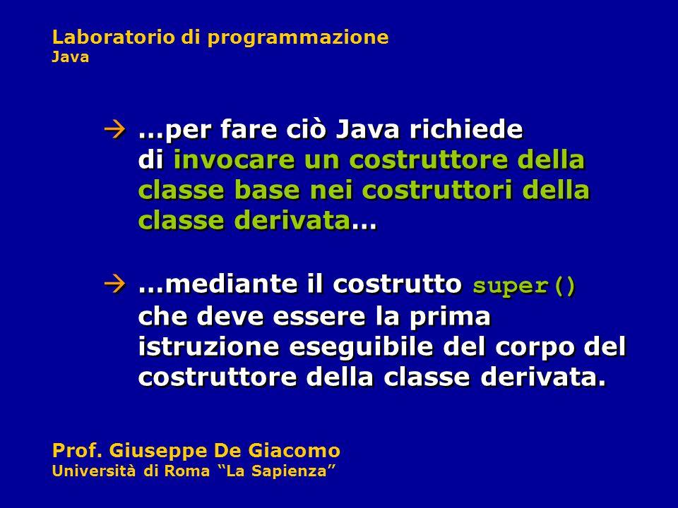 …per fare ciò Java richiede di invocare un costruttore della classe base nei costruttori della classe derivata…